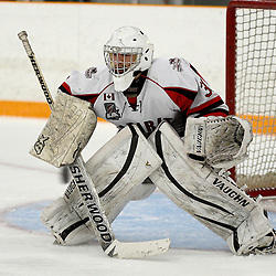 STOUFFVILLE, ON - Jan 16 : Ontario Junior Hockey League Game Action between the Stouffville Spirit Hockey Club and the Whitby Fury Hockey Club.  Daniel Mannella #31 of the Stouffville Spirit Hockey Club during third period game action.<br /> (Photo by Michael DiCarlo / OJHL Images)