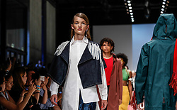 July 3, 2018 - Berlin, Germany - Models present a Spring/Summer 2019 Greenshowroom selected collection of during the first day of MBFW Berlin Fashion Weak in the ewerk showspace in Berlin, Germany on July 3, 2018. (Credit Image: © Dominika Zarzycka/NurPhoto via ZUMA Press)