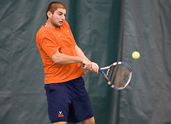 Michael Shabaz in action against Texas.  The #1 ranked Virginia Cavaliers men's tennis team defeated the #5 ranked Texas Longhorns 5-2 at the Boyd Tinsley Courts at the Boar's Head Inn and Resort in Charlottesville, VA on February 29, 2008.