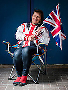 UNITED KINGDOM, London: 30 April 2015, British Royal supporter Kathy Martin from Australia but resides in Beckenham poses for her portrait out side the Lindo Wing of St Mary's Hospital where she has been staying for the past 9 days in the hope of seeing HRH Catherine, Duchess of Cambridge after she has give birth to her second child in London, England. Andrew Cowie / Story Picture Agency