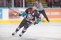 KELOWNA, CANADA - OCTOBER 22: Madison Bowey #4 of the Kelowna Rockets skates against the Calgary Hitmen on October 22, 2013 at Prospera Place in Kelowna, British Columbia, Canada.   (Photo by Marissa Baecker/Shoot the Breeze)  ***  Local Caption  ***