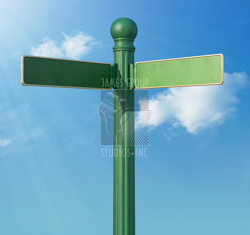 A Blank old-Fashoned street sign for a fork in the road