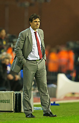 BRUSSELS, BELGIUM - Tuesday, October 15, 2013: Wales' manager Chris Coleman during the 2014 FIFA World Cup Brazil Qualifying Group A match against Belgium at the Koning Boudewijnstadion. (Pic by David Rawcliffe/Propaganda)