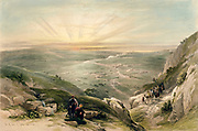 Colour lithograph of Sun setting over landscape with Cana in the distance, Israel. Coloured lithograph by Louis Haghe after David Roberts, 1842.