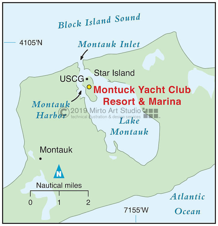 Vector map of Montauk, New York marina