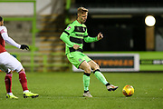 Forest Green Rovers Nathan McGinley(19) passes the ball forward during the EFL Trophy group stage match between Forest Green Rovers and U21 Arsenal at the New Lawn, Forest Green, United Kingdom on 7 November 2018.