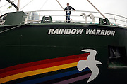 © Licensed to London News Pictures. 08/11/2011. London, UK. John Sauven, the Executive Director on Greenpeace onboard the environmental organisation's  flagship, Rainbow Warrior in South Quay in London's Docklands today 8th November 2011, after making her maiden voyage from Amsterdam. It is the first Greenpeace ship to have been specifically built, the previous two being refits. Photo credit : Stephen Simpson/LNP