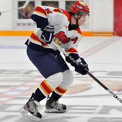TRENTON, ON - Oct 26: Ontario Junior Hockey League game between Wellington Dukes and Trenton Golden Hawks. Craig Campbell #9 of the Wellington Dukes skates with the puck during second period game action..(Photo by Shawn Muir / OJHL Images)