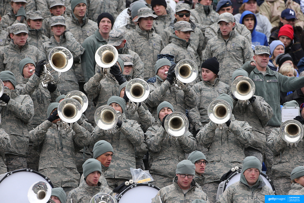 Air Force supporters and band cheer on their team during the Army Black Knights Vs Air Force Falcons, College Football match at Michie Stadium, West Point. New York. Air Force won the game 23-6. West Point, New York, USA. 1st November 2014. Photo Tim Clayton