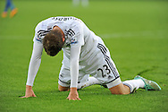 Gylfi Sigurdsson of Swansea city  falls to his knees after an attempt on goal is missed.<br /> Barclays Premier league match, Swansea city v Crystal Palace at the Liberty stadium in Swansea, South Wales on Saturday 29th November 2014<br /> pic by Phil Rees, Andrew Orchard sports photography.