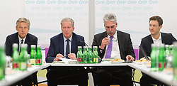 13.01.2015, ÖVP Bundespartei, Wien, AUT, ÖVP, Vorstandssitzung der Bundespartei anlässlich der Steuerreform. im Bild v.l.n.r. ÖVP Klubobmann Reinhold Lopatka, Vizekanzler und Minister für Wirtschaft und Wissenschaft Reinhold Mitterlehner (ÖVP), Bundesminister für Finanzen Hans Jörg Schelling (ÖVP) und ÖVP Generalsekretär Gernot Blümel // f.l.t.r. Leader of the Parliamentary Group OeVP Reinhold Lopatka, Vice Chancellor of Austria and Minister of Science and Economy Reinhold Mitterlehner (OeVP), Minister of Finance Johann Georg Schelling (OeVP) and Secretary General of OeVP Gernot Bluemel before board meeting  of the austrian people's party according to tax reformation at federal party headquarter in Vienna, Austria on 2015/04/13. EXPA Pictures © 2015, PhotoCredit: EXPA/ Michael Gruber