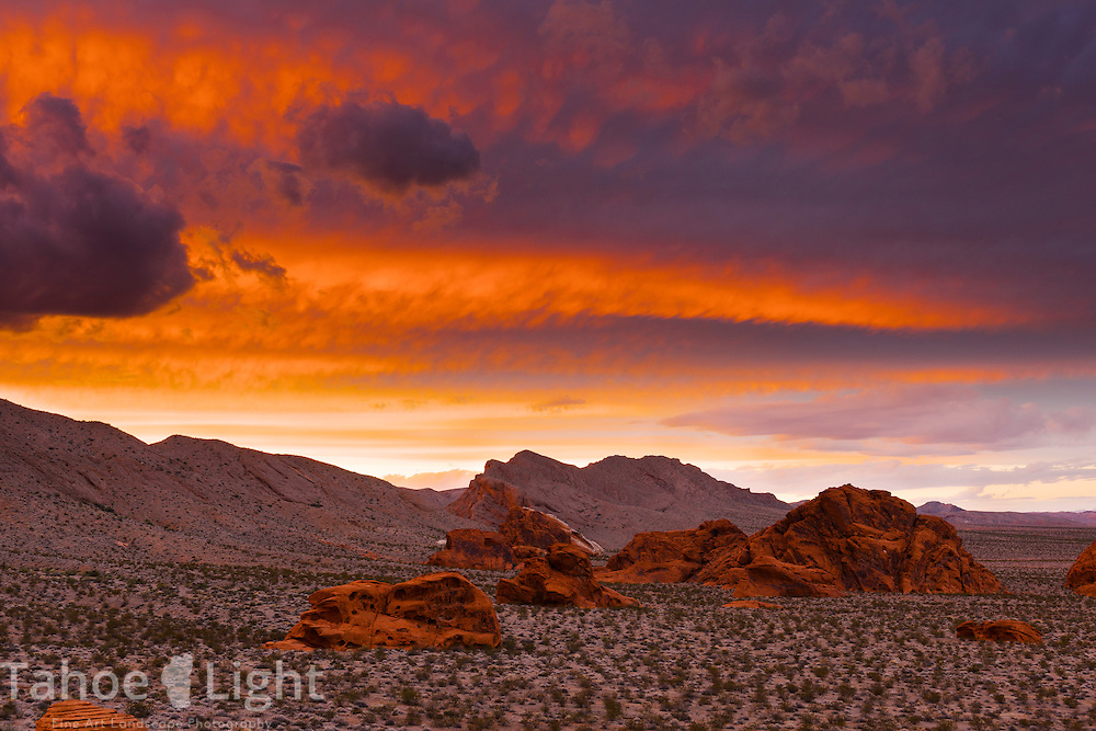 Sunset above the unique landscape of Valley of Fire state park in Southern Nevada about 2 hours outside of Las Vegas.