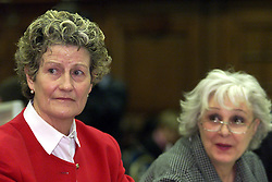 Marchioness Disaster Inquiry is held at the Westminster Central Hall, London, 2000. Relatives of the victims giving evidence. Eileen Dallaglio in red and and Sally Smith, who's daughter Jane Bourke was killed listen to the opening statement from Lord Justice Clarke..Photo by Andrew Parsons/i-Images.All Rights Reserved ©Andrew Parsons/i-images.See Instructions