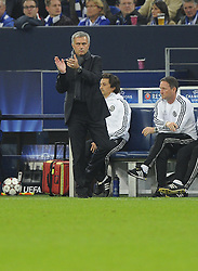 Chelsea Manager, Jose Mourinho aplaudds  the second goal - Photo mandatory by-line: Joe Meredith/JMP - Tel: Mobile: 07966 386802 22/10/2013 - SPORT - FOOTBALL - Veltins-Arena - Gelsenkirchen - FC Schalke 04 v Chelsea - CHAMPIONS LEAGUE - GROUP E