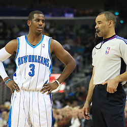 02 February 2009: New Orleans Hornets guard Chris Paul (3) talks with a referee during a 97-89 loss by the New Orleans Hornets to the Portland Trail Blazers at the New Orleans Arena in New Orleans, LA.