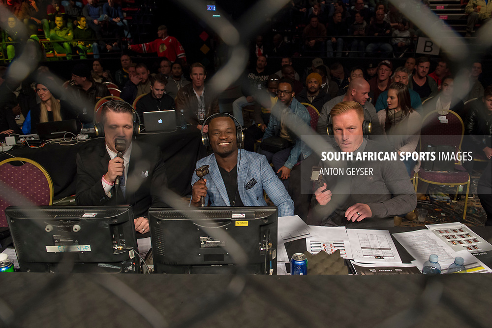 JOHANNESBURG, SOUTH AFRICA - MAY 13: Hexagon announcer Cyrus Fees, Demarte Pena and Sias du Plessis in action during EFC 59 Fight Night at Carnival City on May 13, 2017 in Johannesburg, South Africa. (Photo by Anton Geyser/EFC Worldwide/Gallo Images)