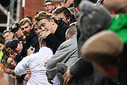 Celtic FC Forward Leigh Griffiths celebrates in the crowd during the Scottish League Cup presented by Ulilita Energy quarter final match between Heart of Midlothian and Celtic at Tynecastle Stadium, Gorgie, Scotland on 28 October 2015. Photo by Craig McAllister.