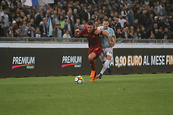April 15, 2018 - Rome, Lazio, Italy - As Roma striker Patric Schick versus Stefan Radu.at Stadio Olimpico of Roma. Lazio and Roma tied for 0-0 the ''derby della Capitale'' of Italian Serie A. (Credit Image: © Paolo Pizzi/Pacific Press via ZUMA Wire)