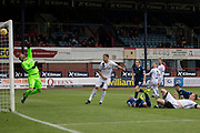 14th September 2019; Dens Park, Dundee, Scotland; Scottish Championship, Dundee Football Club versus Alloa Athletic; A header from Jordon Forster of Dundee crashes off the crossbar