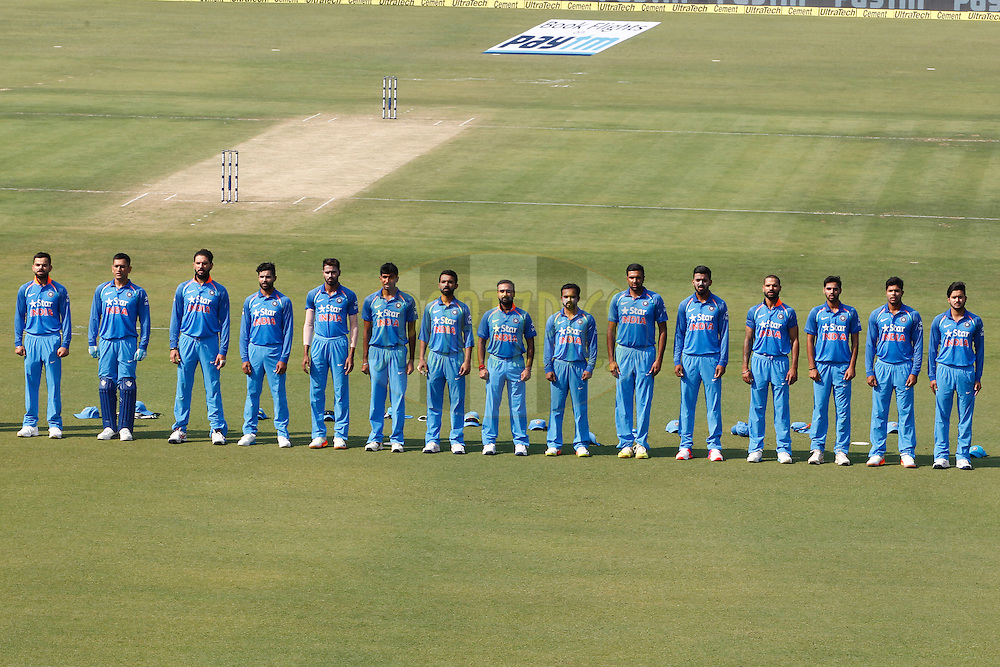 Team India Players Stand for the National Anthem during the third One Day International (ODI) between India and England  held at Eden Gardens in Kolkata on the 22nd January 2017<br /> <br /> Photo by: Deepak Malik/ BCCI/ SPORTZPICS