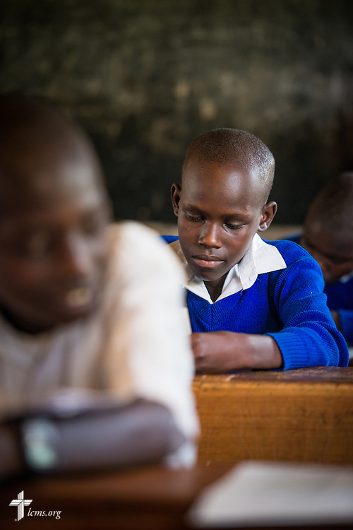A student from the U-Dom ELCK (Evangelical Lutheran Church in Kenya) Project 24 prepares for an exam on Thursday, June 23, 2016, at the Propoi Primary School in Chepareria, Kenya.  LCMS Communications/Erik M. Lunsford
