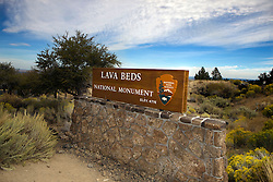 National Park Service sign for Lava Beds National Monument, at the vistior's center, California