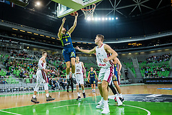 Blaz Mesicek of Slovenia with Rolands Freimanis of Latvia during basketball match between National teams of Slovenia and Latvia in Round #10 of FIBA Basketball World Cup 2019 European Qualifiers, on December 2, 2018 in Arena Stozice, Ljubljana, Slovenia. Photo by Grega Valancic