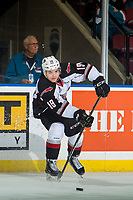 KELOWNA, BC - OCTOBER 03:  Dawson Holt #19 of the Vancouver Giants passes the puck against the Kelowna Rockets at Prospera Place on October 3, 2018 in Kelowna, Canada. (Photo by Marissa Baecker/Getty Images)