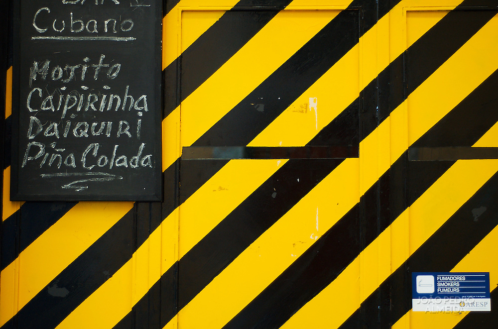 Closed door  of Bairro Alto bar in Lisbon
