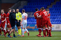 BIRKENHEAD, ENGLAND - Wednesday, December 6, 2017: Liverpool's Rhian Brewster is restrained by team-mates after speaking with referee Mohammed Al-Hakim during the UEFA Youth League Group E match between Liverpool FC and FC Spartak Moscow at Prenton Park. (Pic by David Rawcliffe/Propaganda)