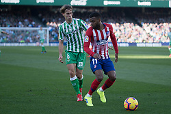 February 3, 2019 - Sevilla, Andalucia, Spain - Canales of Real Betis and Lemar of Atletico de Madrid competes for the ball during the LaLiga match between Real Betis vs Atletico de Madrid at the Estadio Benito Villamarin in Sevilla, Spain. (Credit Image: © Javier MontañO/Pacific Press via ZUMA Wire)