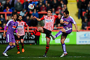 Exeter City's Danny Butterfield and Plymouth Argyle's Carl McHugh during the Sky Bet League 2 match between Exeter City and Plymouth Argyle at St James' Park, Exeter, England on 2 April 2016. Photo by Graham Hunt.