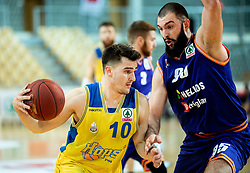 Tjaz Rotar of Hopsi Polzela vs Dzoko Salic of Helios Suns during basketball match between KK Hopsi Polzela and KK Helios Suns in semifinal of Spar Cup 2018/19, on February 16, 2019 in Arena Bonifika, Koper / Capodistria, Slovenia. Photo by Vid Ponikvar / Sportida
