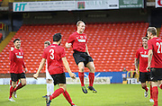 Stefan Elvin (centre) jumps for joy after putting Tayport 2-0 in front as they beat North End (white) 4-1 in the GA Engineering Cup Final at Tannadice<br /> <br />  - &copy; David Young - www.davidyoungphoto.co.uk - email: davidyoungphoto@gmail.com