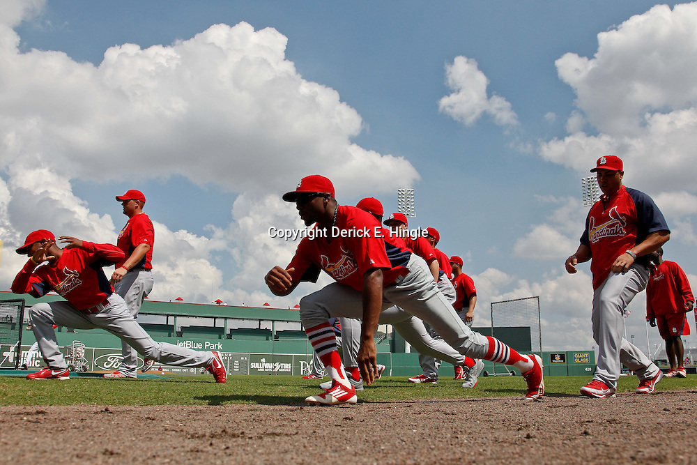 March 15, 2012; Fort Myers, FL, USA; St. Louis Cardinals players stretch before a spring training game against the Boston Red Sox at Jet Blue Park. Mandatory Credit: Derick E. Hingle-US PRESSWIRE