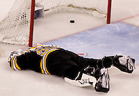 Boston Bruins goaltender Tim Thomas (30) lays on the ice after giving up a goal to Washington Capitals forward Mike Knuble (off camera) in the third period of game five of the NHL Eastern Conference Quarterfinal TD Garden in Boston, Massachusetts on April 12, 2012. The Capitals defeated the Bruins 4-3.    UPI/Matthew Healey