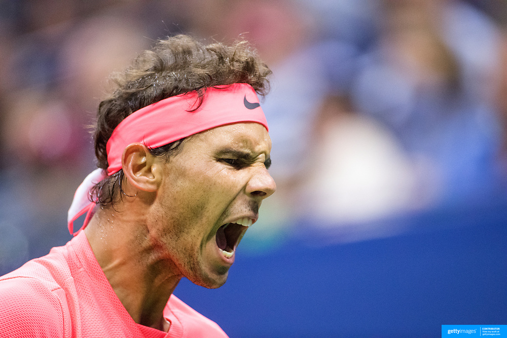 2017 U.S. Open Tennis Tournament - DAY SIX. Rafael Nadal of Spain in action against Leonardo Mayer of Argentina during the Men's Singles round three match at the US Open Tennis Tournament at the USTA Billie Jean King National Tennis Center on September 02, 2017 in Flushing, Queens, New York City.  (Photo by Tim Clayton/Corbis via Getty Images)