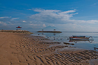 Sanur beach at low tide early morning in Bali, Indonesia