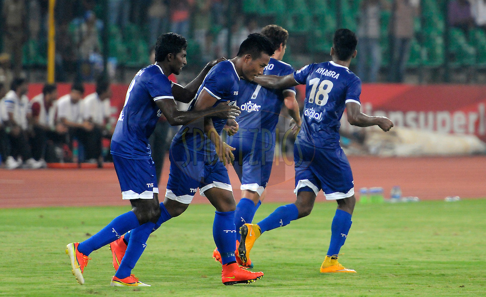 Jeje Lalpekhlua of Chennaiyin FC celebrates a goal during match 15 of the Hero Indian Super League between Chennaiyin FC and Mumbai City FC held at the Jawaharlal Nehru Stadium, Chennai, India on the 28th October 2014.<br /> <br /> Photo by:  Pal Pillai/ ISL/ SPORTZPICS