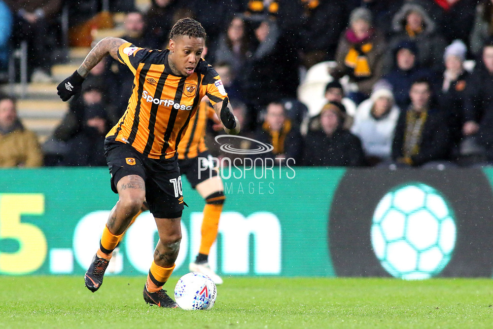 Hull City forward Abel Hernandez (10) attacking  during the EFL Sky Bet Championship match between Hull City and Aston Villa at the KCOM Stadium, Kingston upon Hull, England on 31 March 2018. Picture by Mick Atkins.