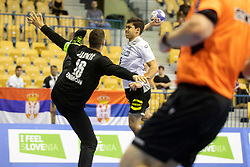 Todor Jandric of Serbia and Tim Matthes of Germany during handball match between National teams of Serbia and Germany in Main Round of 2018 EHF U20 Men's European Championship, on July 25, 2018 in Arena Zlatorog, Celje, Slovenia. Photo by Urban Urbanc / Sportida