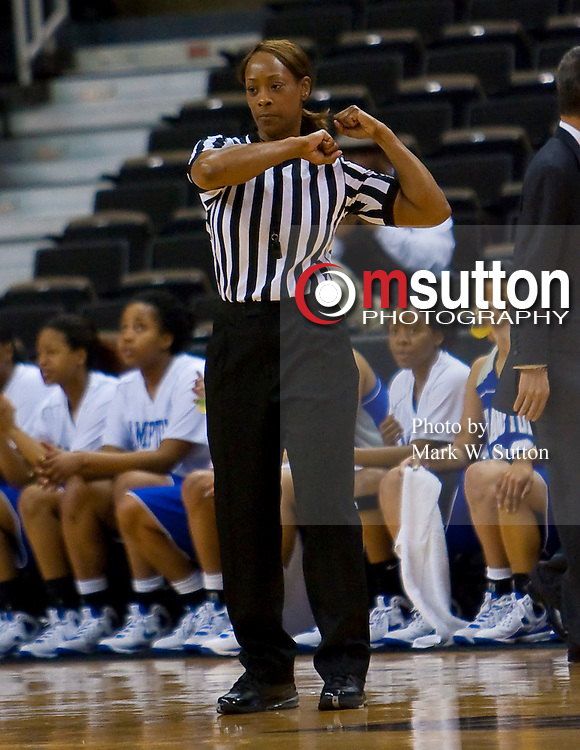 during their 2009 MEAC Basketball Tournament Women's Championship game between Hampton and North Carolina A&T in Winston-Salem, North Carolina.  North Carolina A&T won 76 - 54.  March 14, 2009  (Photo by Mark W. Sutton)