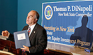New York State Comptroller Thomas P. DiNapoli speaks about the New York State Common Retirement Fund's In-State Private Equity Investment Program at the Orange County Chamber of Commerce in Montgomery on Tuesday, Aug. 18, 2009.