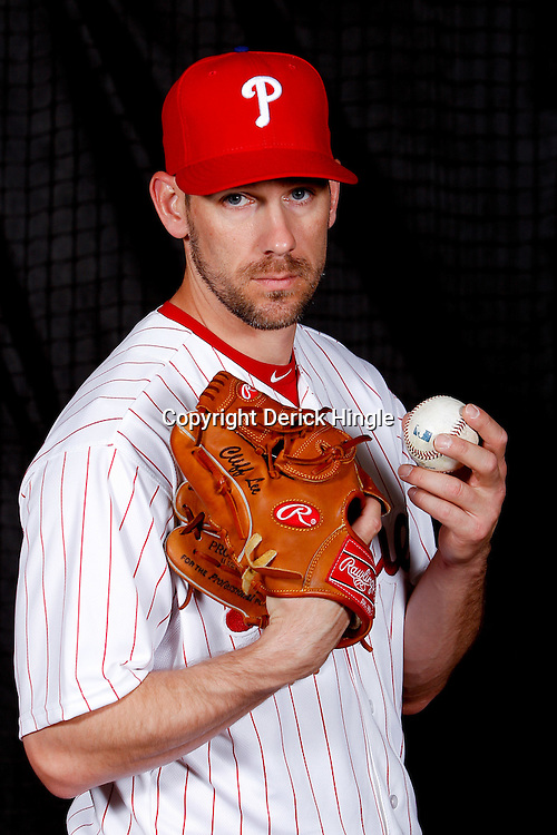 February 22, 2011; Clearwater, FL, USA; Philadelphia Phillies starting pitcher Cliff Lee (33) poses during photo day at Bright House Networks Field. Mandatory Credit: Derick E. Hingle