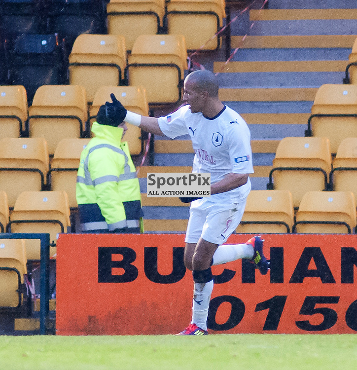 Farid El Algugai celebrates heading in at the back post, Livingston v Falkirk, SFL Division 1, Braidwood Motor Company Stadium, Monday 2nd January 2012