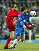 Photo: Scott Heavey<br />Birmingham City V Liverpool. 23/02/03.<br />Christophe Dugarry holds off Dietmar Hamann during this premiership clash.