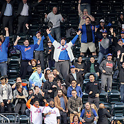 NEW YORK, NEW YORK - MAY 02:  New York Mets fans celebrate a Lucas Duda #21 of the New York Mets home run in the first inning during the Atlanta Braves Vs New York Mets MLB regular season game at Citi Field on May 02, 2016 in New York City. (Photo by Tim Clayton/Corbis via Getty Images)