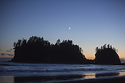 Seastacks, moon and ocean, First Beach in La Push. (Steve Ringman / The Seattle Times)