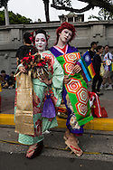 "Visitors from Japan in elaborate and traditional costumes pose before the start of LGBT Pride. The annual march through Taipei's city streets is the largest in Asia, with well over 50 000 people taking part. The 2014 event had the theme ""Walk in Queer's Shoes"", to encourage the wider community to lend their support for equal marriage rights."