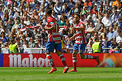05.04.2015, Estadio Santiago Bernabeu, Madrid, ESP, Primera Division, Real Madrid vs FC Granada, 29. Runde, im Bild Granada&acute;s Daniel Candeias and Robert Ibanez celebrates a goal // during the Spanish Primera Division 29th round match between Real Madrid CF and Granada FC at the Estadio Santiago Bernabeu in Madrid, Spain on 2015/04/05. EXPA Pictures &copy; 2015, PhotoCredit: EXPA/ Alterphotos/ Luis Fernandez<br /> <br /> *****ATTENTION - OUT of ESP, SUI*****